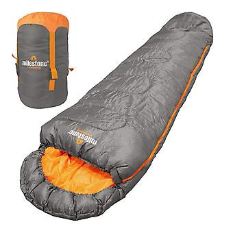 Milestone Mummy 3 Season Sleeping Bag Single Grey 220 x 80cm