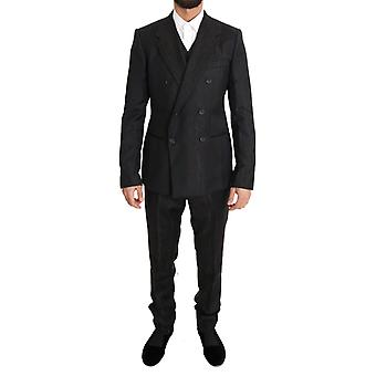 Dolce & Gabbana Brown Wool Double Breasted Slim Fit 3 Piece Suit