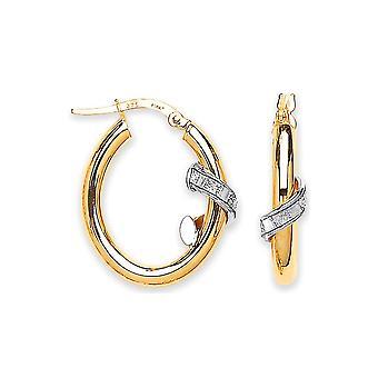 Eternity 9ct Gold Oval Moondust Design Boucles d'oreilles creole Hoop