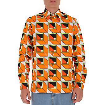 Prada Ucn3141xvff0049 Männer's Orange Baumwollhemd