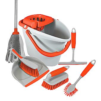 Charles Bentley 'Brights' Kitchen Bundle Set Mop Brush Scrub Squeegee Dish Dustpan Orange