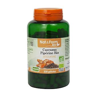 Organic Piperine Turmeric 200 vegetable capsules