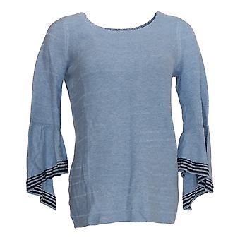 Laurie Felt Women's Sweater Cascade Sleeve Blue A346612