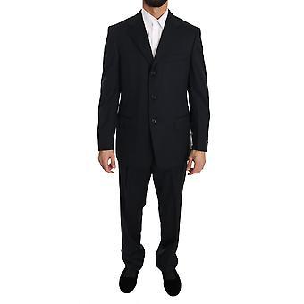 Ermenegildo Zegna Black two Piece 3 Button Wool suit -- KOS1338992
