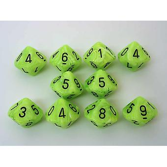 Chessex 10 x D10 Dice Set - Vortex Dice Bright Green/black