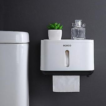 Wall Mounted, Waterproof Toilet Paper Holder With Two Storage