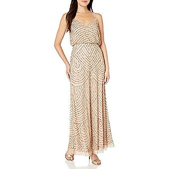 Adrianna Papell Women's Long Beaded Blouson Gown, Taupe/Pink, 6