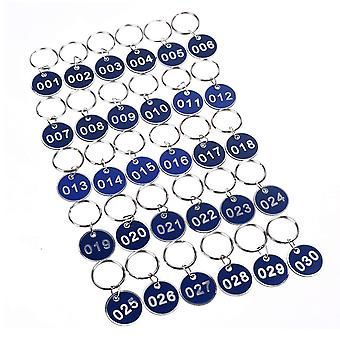 50PCS 3.5cm Round Plastic Sign with Iron Ring Blue