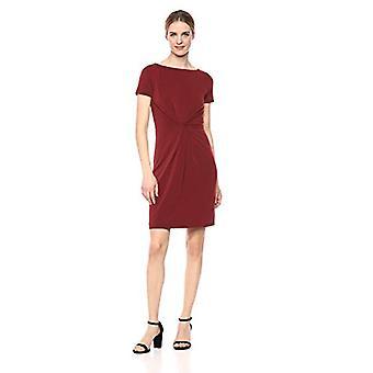 Marke - Lark & Ro Women's Crepe stricken Kurzarm Center Twist Kleid, Zinfandel, 10