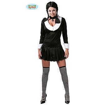 Costume scolaretta goth EMO per signore nero vestito