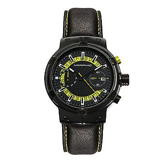 Morphic M91 Series Chronograph Leather-Band Watch w/Date - Black/Yellow