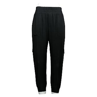 Anybody Women's Petite Pant Cozy Knit Cargo Jogger Black A310165