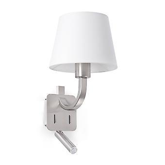 Faro Essential - 1 Licht Indoor Wandlicht Leselampe Satin Nickel mit weißen Farbton, E27