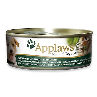 12 x 156g Applaws Natural Adult Dog Pet Wet Food Chicken Beef Natuurlijk Vlees