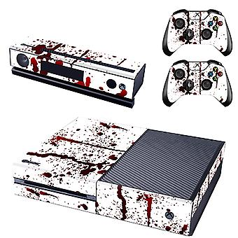 REYTID Console Skin / Sticker + 2 x Controller Decals & Kinect Wrap Compatible with Microsoft Xbox One - Full Set - Blood Splatter