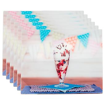 Glass Placemats Set | 50 x 40cm - Sundae Glass | Non Slip Tempered Dining Table Mats