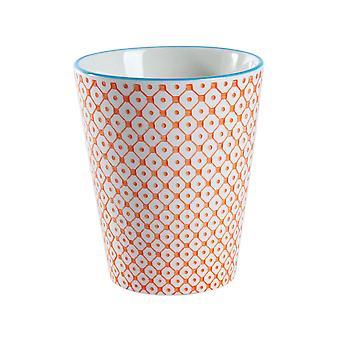 Nicola Spring Käsin painettu posliinimuki - Japanilainen tyyli painatus - 300ml - Oranssi