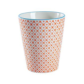Nicola Spring Hand Printed Porcelain Mug - Japanese Style Print - 300ml - Orange