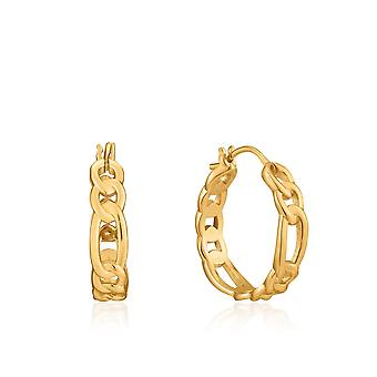 Ania Haie Chain Reaction Shiny Gold Figaro Chain Hoop Earrings E021-04G