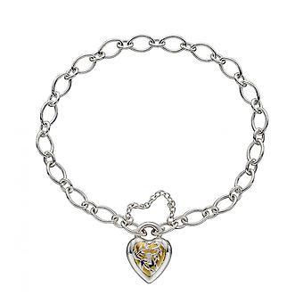 Elements Silver Sterling Silver Heart Lock Yellow Gold Plating Bracelet B5234