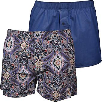 Hanro 2-Pack Fancy Woven Boxer Shorts, Blue Mix