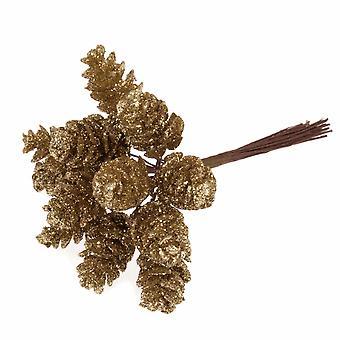 12 Gold Glittered Mini Pine Cones on Wire Craft Embellishment