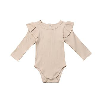 Newborn Infant Kids Baby Girls Boys Autumn Causal Bodysuits Ruffles Long Sleeve Solid Warm Jumpsuits Outfit 0-24m