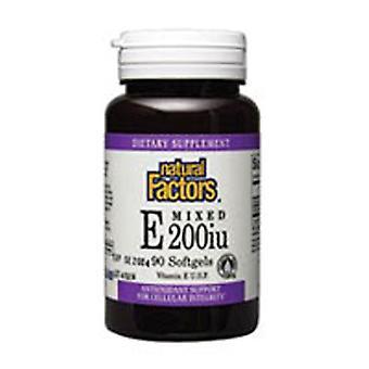 Natural Factors Mixed Tocopherol Vitamin E, 200 IU, 90 Softgels