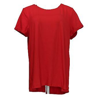 Cuddl Duds Women's Top Flexwear Short Sleeve Split Back Red A346813