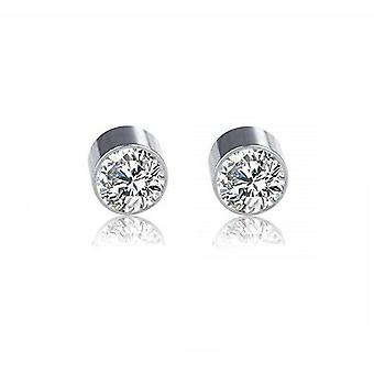 Earrings magnetic with double side steel press fit cubic zirconia-sold as a pair