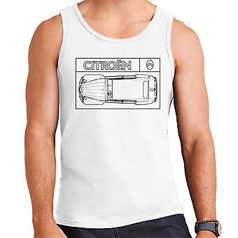Citro?n 2CV Black Diagram Top View Men's Vest