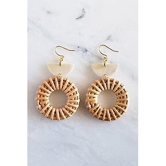 16k Gold Plated Brass Horn & Rattan Crescent & Donut Earrings