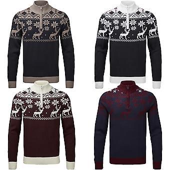 Snuggaroo Mens Reindeer 1/4 Zip Funnel Neck Nordic Knitted Xmas Christmas Jumper