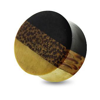0 Gauge ( 8MM ) Double Flared Natural Stripe Crocodile, Palm and Black Iron Wood Convex Saddle Gauge Ear Plug