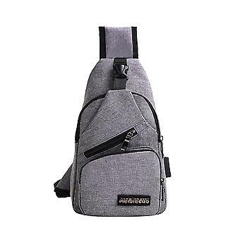 Male Shoulder Usb Charging Crossbody Bag, Anti Theft Chest Bag