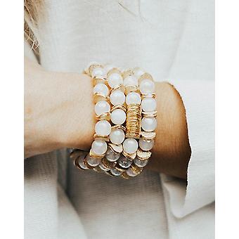 Moonstone Semi Precious Stone With Gold Discs Bracelet