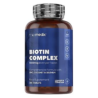 Biotin Complex - 10000 mcg 365 Tablets - Natural Thinning Hair Supplements for Men & Women