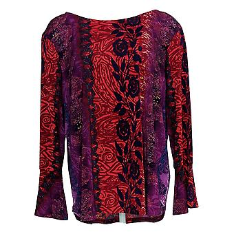 Bob Mackie Women's Top Floral Paisley Crepe Knit Flounce Sleev Red A342623