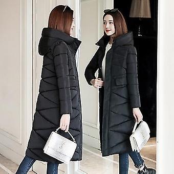 المرأة في فصل الشتاء معطف دافئ سليم القطن مبطن الأساسية سترة عارضة ملابس طويلة