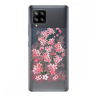 Scafo per Samsung Galaxy A42 5g Silicone Morbido 1 mm, fiori di ciliegio
