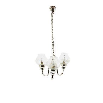Puppen Haus 3 Arm Silber Kronleuchter Glas Kugel Schattierungen Miniatur elektrisches Licht