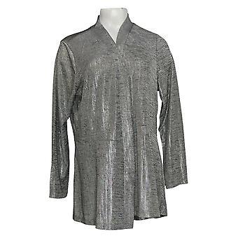 Susan Graver Women's Top Foil Print Long Sleeves Cardigan Gray A343099