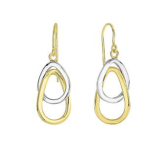 Boucles d'oreilles 14K Yellow And White Gold Hanging Tear Drop