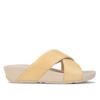 Women's Fit Flop Lulu Leather Cross Slide Sandals in Cream