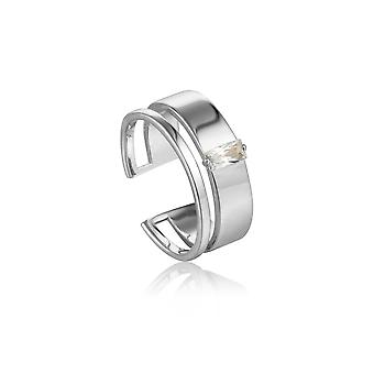 Ania Haie Silver Rhodium Plated Glow Wide Adjustable Ring R018-02H