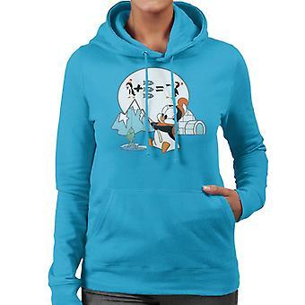 Woody Woodpecker Chilly Willy Fishing Women's Hooded Sweatshirt