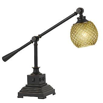 Lampe de bureau en métal d'ombre en verre avec 2 prises usb, bronze foncé et or
