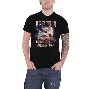 Led Zeppelin T Shirt Stars N Stripes USA 77 Band Logo new Official Mens Black