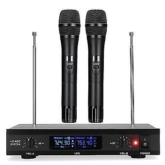 U12 Wireless Karaoke UHF Microphone System with Dual Handheld Wireless Microphone