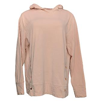 Anybody Women's Hoodie French Terry Sweatshirt With Side Snaps Pink A36768